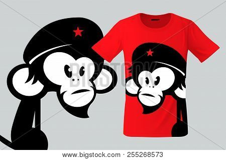 Monkey With Beret, T-shirt Design, Modern Print Use For Sweatshirts, Souvenirs, Cases For Mobile Pho