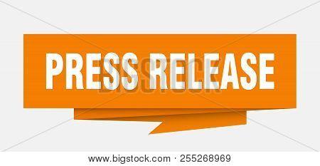 Press Release Sign. Press Release Paper Origami Speech Bubble. Press Release Tag. Press Release Bann