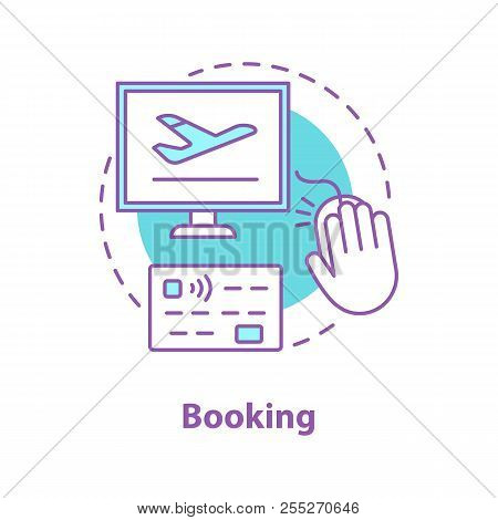 Flight Tickets Online Booking Concept Icon. Airport Service Idea Thin Line Illustration. Airline E-t