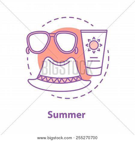 Summer Rest Concept Icon. Sunglasses, Hat, Suntan Cream. Summer Accessories Idea Thin Line Illustrat