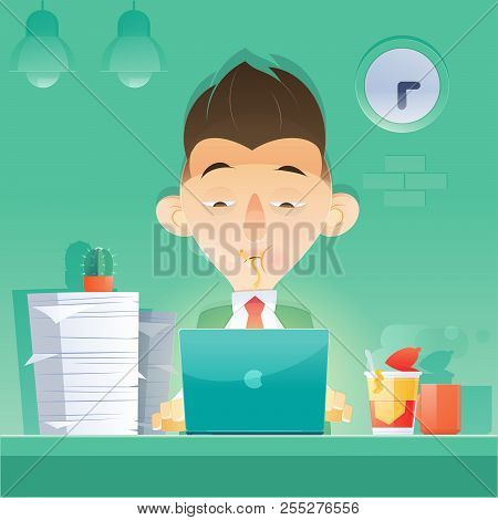 Cartoon Businessman Working Overtime Late Night In Office. Eating At Night. Vector And Illustration.