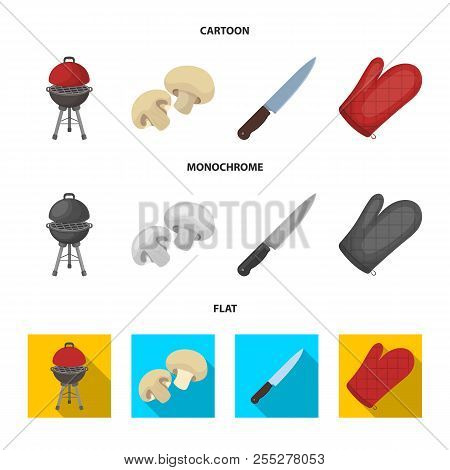 Barbeque Grill, Champignons, Knife, Barbecue Mitten.bbq Set Collection Icons In Cartoon, Flat, Monoc