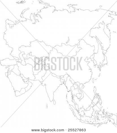 Contour Asia map with country borders