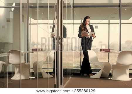 Businesswoman Or Ceo Fashion. Manager Girl With Serious Face Hold Document. Modern Life And Agile Bu
