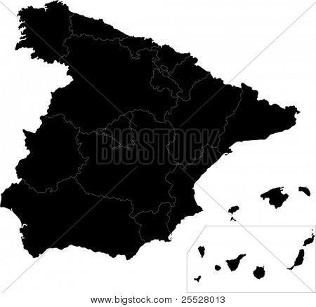 Black Spain map with region borders