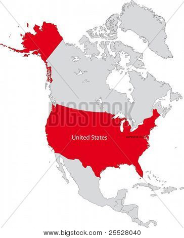 Location of the United States of America on the north America continent