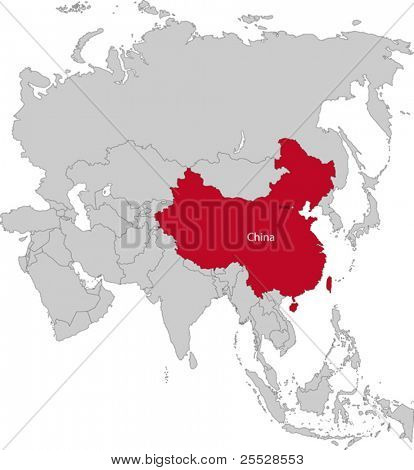 Location of China on the Asia continent