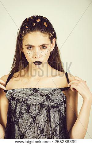 Woman. Pretty Girl Or Adorable Woman, Fashionable Model With Stylish Makeup, Black Lips, Lipstick, G