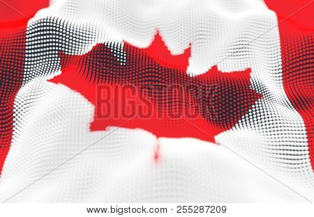 Abstract Glowing Particle Wavy Surface With Canada Flag Texture. 3d Illustration