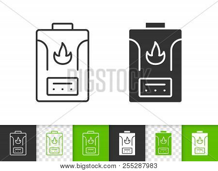 Gas Boiler Black Linear And Silhouette Icons. Thin Line Sign Of Water Heater. Climatic Equipment Out