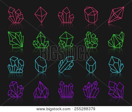 Crystal Thin Line Icons Set. Outline Vector Sign Kit Of Gemstone. Mineral Linear Icon Collection Inc
