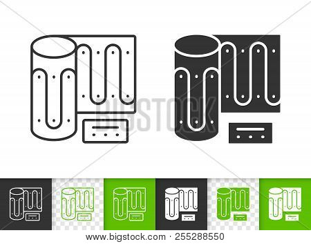 Warm Floor Black Linear And Silhouette Icons. Thin Line Sign Of Heating. Convector Outline Pictogram
