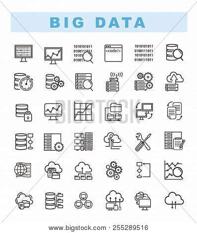 Big Data Icons Set And Web Analytics Icons Set. Data Analytics And Network Concept Icons. Database A