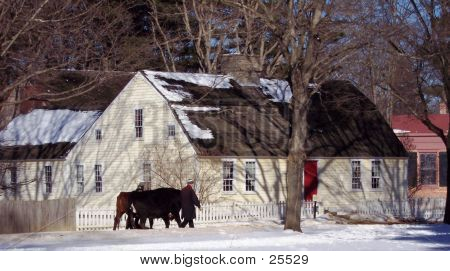 Home In Snow And Farmer
