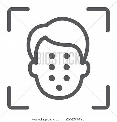 Face Id Line Icon, Face Recognition And Face Identification, Face Scanning Sign, Vector Graphics, A