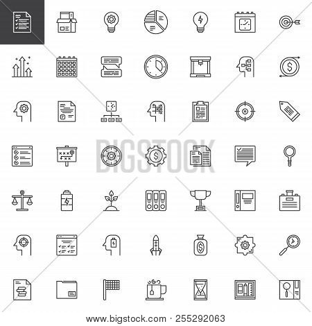 Business Productivity Outline Icons Set. Linear Style Symbols Collection, Line Signs Pack. Vector Gr