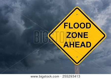 Flood Zone Ahead Caution Sign Storm Background