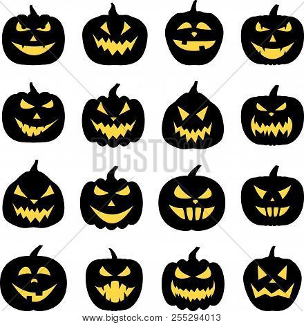 Black Isolated Halloween Pumpkin Face Patterns On White.