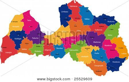 Map of administrative divisions of Republic of Latvia