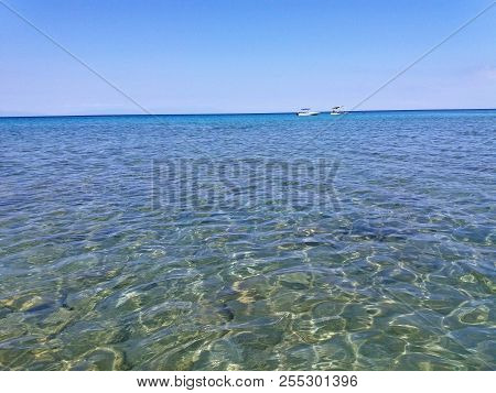 The Mediterranean Sea In Greece, Clear Green And Blue Water