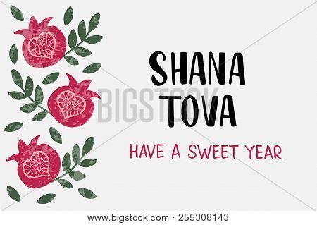 Shana Tova - Handwritten Lettering With Pomegranate. Jewish New Year. Holiday Banner Design. Templat