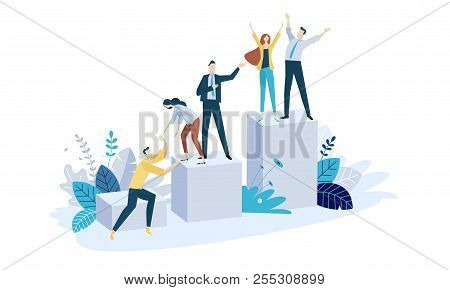 Vector Illustration Concept Of Team Building. Creative Flat Design For Web Banner, Marketing Materia