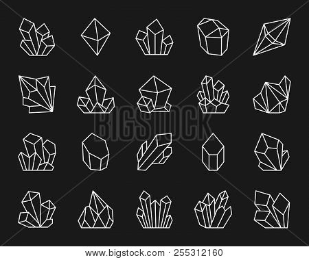 Quartz Crystal Thin Line Icons Set. Outline Sign Kit Of Gem. Mineral Linear Icon Collection Includes