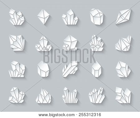 Crystal Paper Cut Art Icons Set. 3d Sign Kit Of Gem. Mineral Pictogram Collection Includes Emerald,