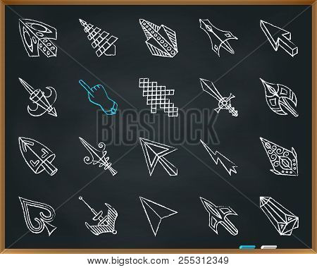 Mouse Cursor Chalk Icons Set. Outline Sign Kit Of Arrow. Click Linear Icon Collection Includes Point