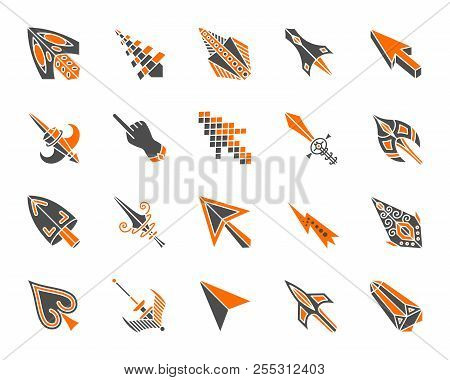 Mouse Cursor Silhouette Icons Set. Isolated On White Web Sign Kit Of Arrow. Click Pictogram Collecti