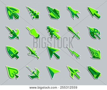 Mouse Cursor Sticker Icons Set. Flat Sign Kit Of Arrow. Click Pictogram Collection Includes Pointer,