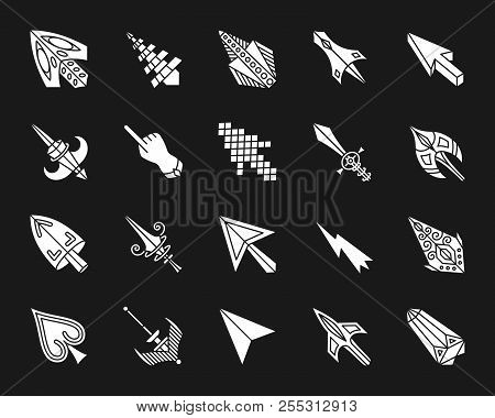 Mouse Cursor Silhouette Icons Set. Isolated Web Sign Kit Of Arrow. Click Monochrome Pictogram Collec