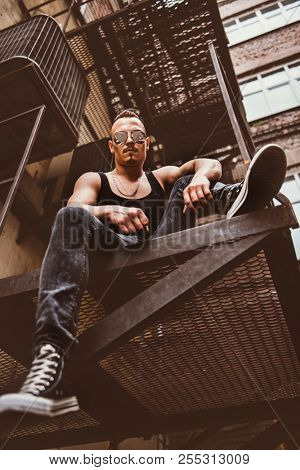 Rock man in the street. Streetstyle. Freedom feeling.