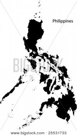Black Philippines map separated on the departments