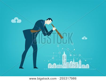 Businessmen Looking On The City With Telescope To Find Better Solution And Discover New Opportunitie