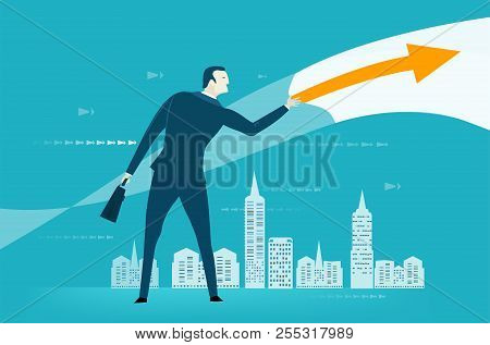 Businessman Swiping Right, Making The  Decision For City And Business. Controlling, Supporting And C