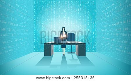 Data Consultant In The Office, Surrounded By Screens With Running Data. Big Data Solution, Help And