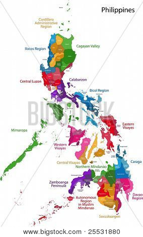Map of Republic of the Philippines with eighty provinces poster