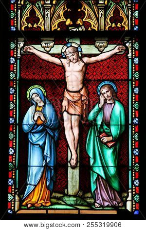 Stained Glass - Crucifixion Of Jesus Christ On Good Friday