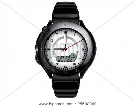 Vector illustration of modern and sport wristwatch