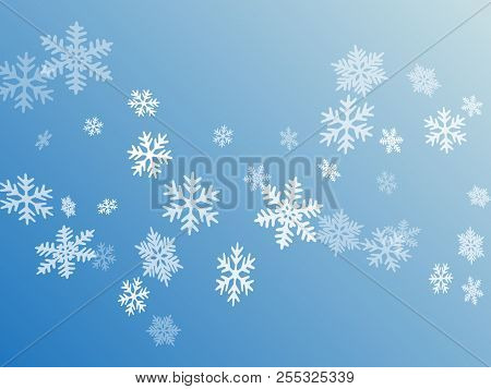 Snow Flakes Falling Macro Vector Graphics, Christmas Snowflakes Confetti Falling Scatter Card. Winte