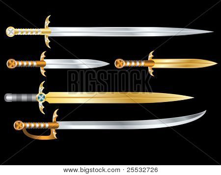 Set of vector swords