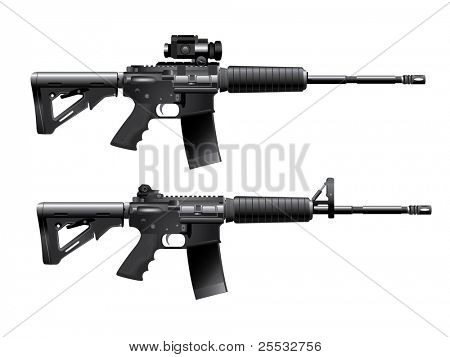 Assault rifle carabine vector