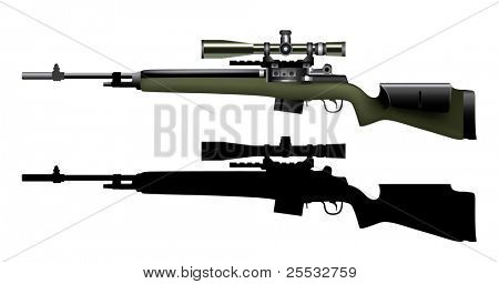 Vector of realistic sniper rifle