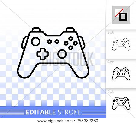 Joystick thin line icon. Outline web sign of gamepad. Controller linear pictogram with different stroke width. Simple vector symbol, transparent background. Joystick editable stroke icon without fill poster