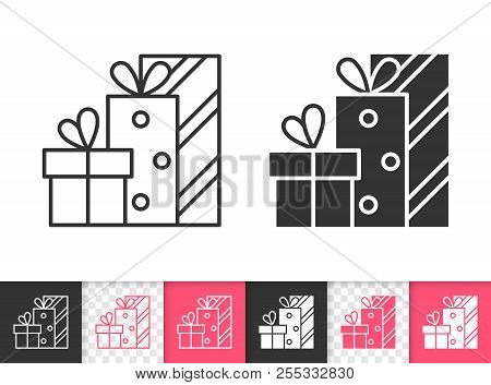 Gift bpxes black linear and silhouette icons. Thin line sign of bounty box. Present outline pictogram isolated on white, red, transparent background. Vector Icon shape. Gift simple symbol closeup poster