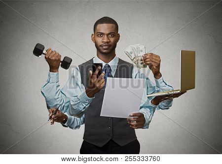 Multitasking Business Man Isolated On Grey Wall Background. Busy Life Of Company Manager Corporate E