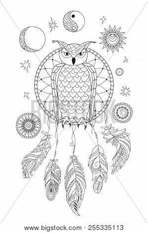 Coloring Page With Symbol Moon, Sun, Jin Yang, Patterned Owl And Feathers For Adult Antistress Color