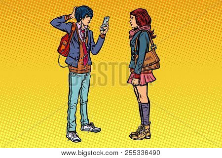 Young Man And Girl Teens Date. Pop Art Retro Vector Illustration Kitsch Vintage