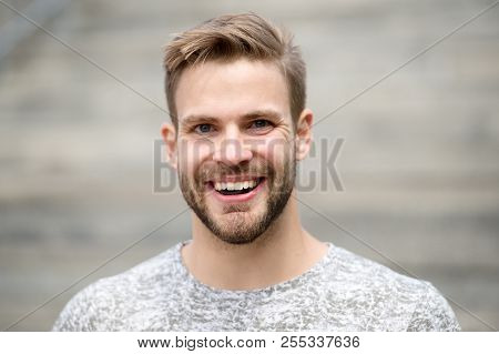 Man With Perfect Brilliant Smile Unshaven Face Defocused Background. Guy Happy Emotional Expression